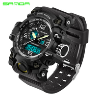 SANDA 742 Sports Men's Watches G style Waterproof LED Quartz Sport Military Watch S Shock Male Clock relogios masculino 2019