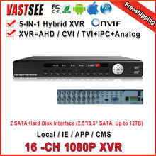 16 Channel 1080P Hybrid XVR for AHD/CVI/TVI DVR AHD-H 960H D1 P2P IP recorder ONVIF Network NVR H.264 for 2MP IP Camera