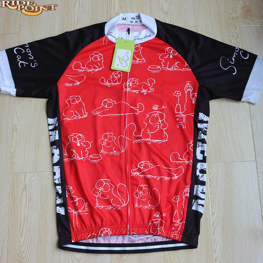 Simon s cat Red MEOW Cartoon Cat Mens Cycling Jerseys Short Sleeve MTB Road  Dh Bike Clothes ... 97e4c305e
