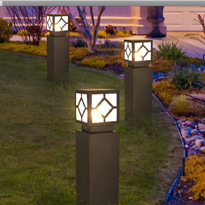 The lawn outside the square led lights europeanism courtyard lights garden lights outdoor landscape lamp lights in the park aluminum square lawn lamp led modern simple garden lights outdoor landscape park lights