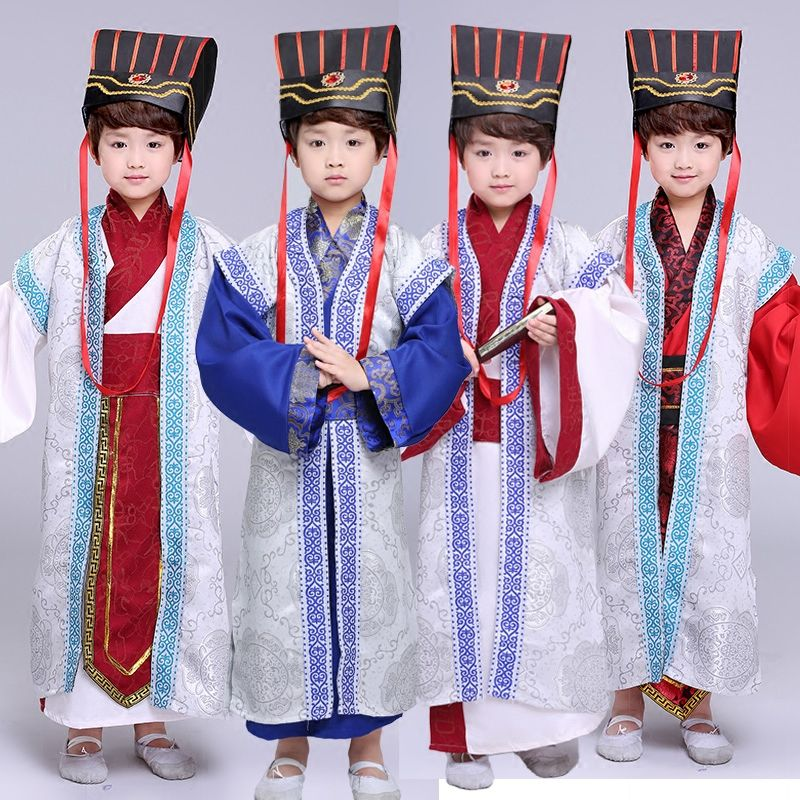 Children Ancient Hanfu Costume Boy Han Dynasty Stage Cosplay Dress Kids Chinese Traditional Tang Dance Clothing with Hat 90