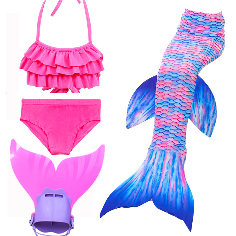 4Pcs Girl Little Mermaid Tails For Swimsuit Costumes Cosplay with Monofin For Kid Mermaid Tail Swimmable Swimming Suit Costume
