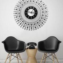 Wall-Clock Clock-Design Sunburst Luxury Parete Wandklok Crystal Home-Decor Vintage Large
