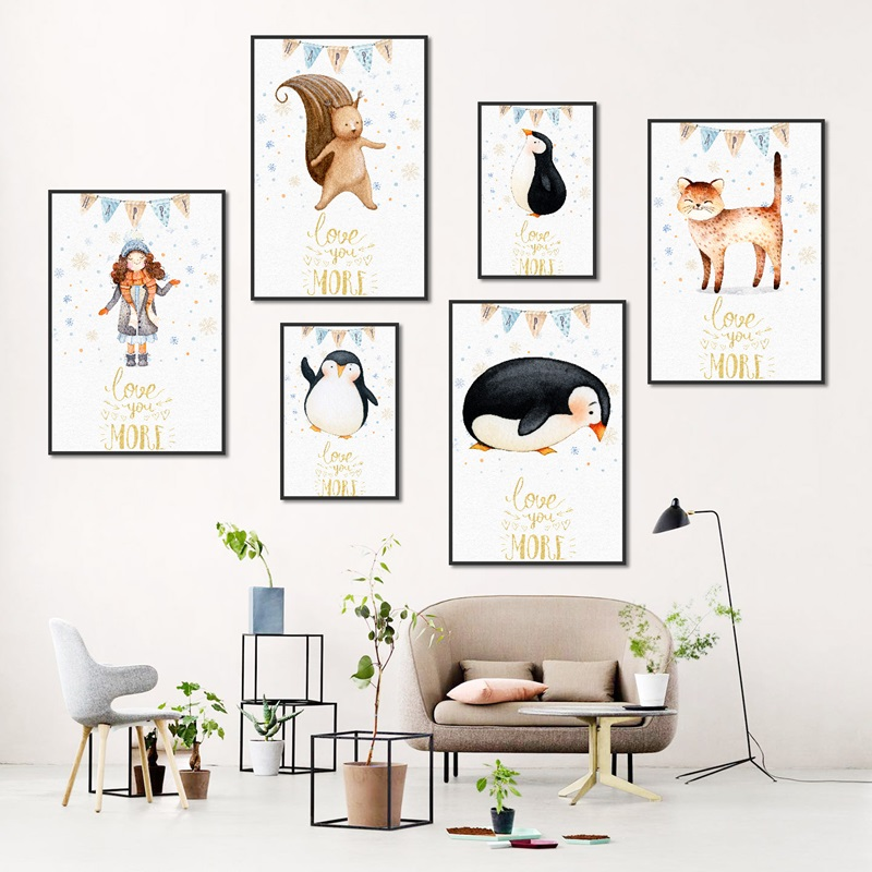 Watercolor Cartoon Animals Penguin Bear Canvas Painting Nordic Art Posters and Prints Children 39 s Room Decoration Wall Pictures in Painting amp Calligraphy from Home amp Garden