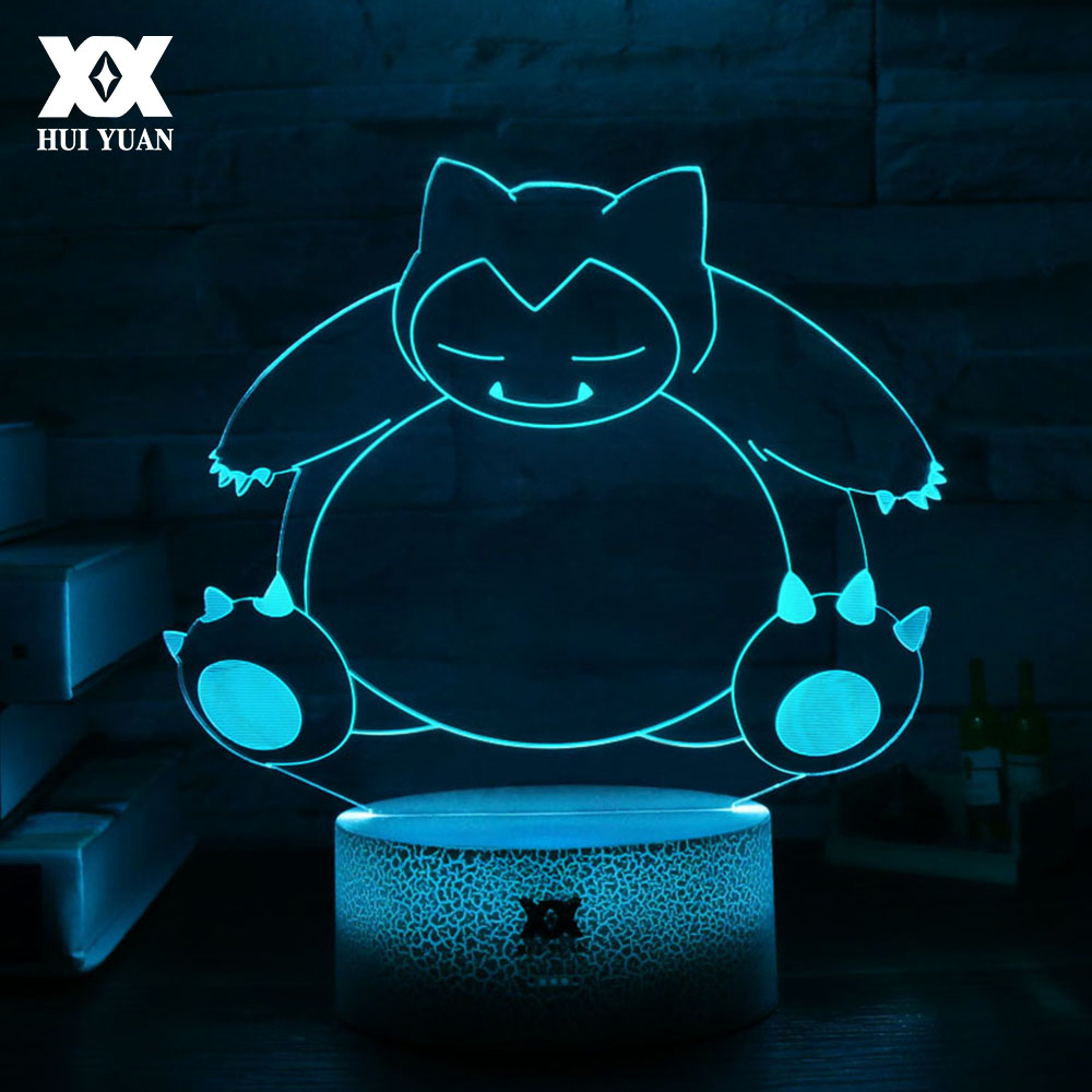 New Pokemon Snorlax Cartoon 3D Lamp Creative LED Cool Multicolor Night Light Home Decoration Table Lamp Gift HUI YUAN Brand