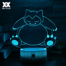 New Pokemon Snorlax Cartoon 3D Lamp Creative LED Cool Multicolor Night Light Home Decoration Table Gift HUI YUAN Brand