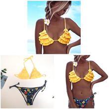 Women Halter Bandage Bikini Set Push-up Ruffle Bra Flower Printed Summer Beach Swimwear ED-shipping