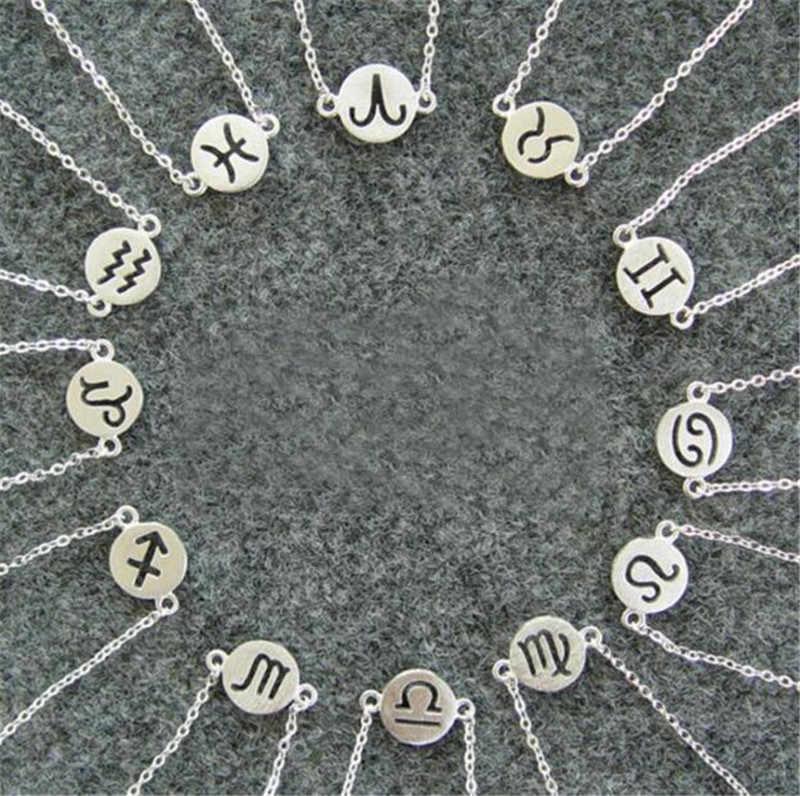 Chandler Unisex bransoletka zodiakalna Charms 12 konstelacje znak zodiaku bransoletki kobiety Leo anuluj bransoletka Bijoux ze stali nierdzewnej