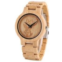 YISUYA Bamboo Wooden Watch For Men Unique Deer Creative Watches Novel Full Wood Handmade Clock Fashion