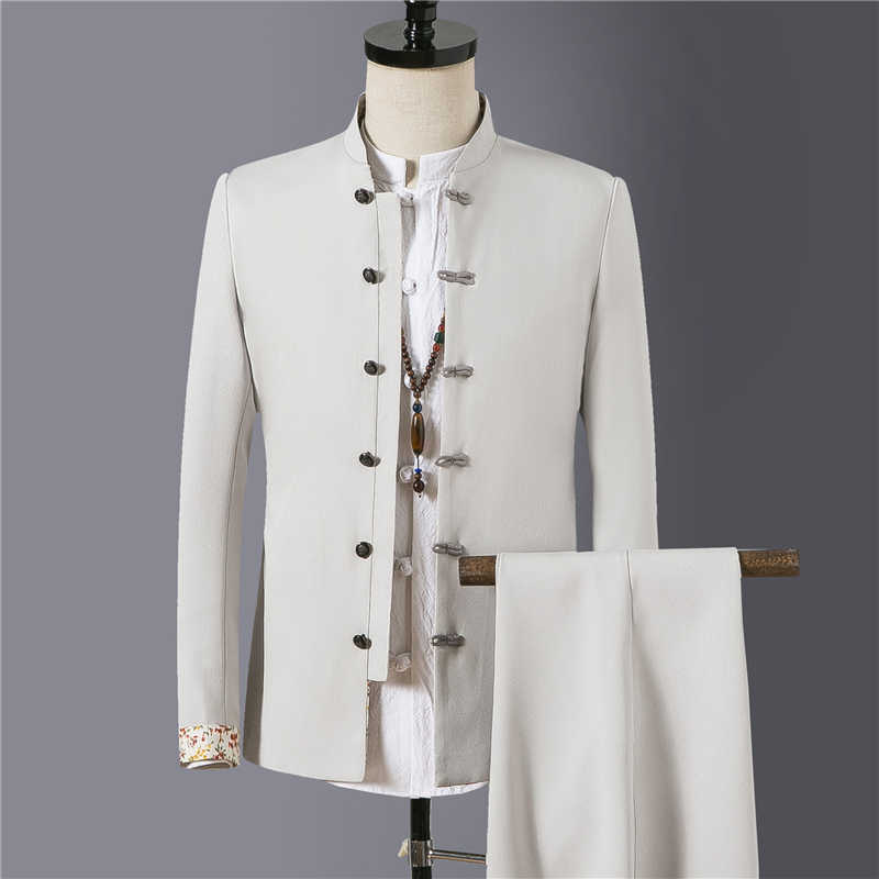 Chinese retro style men suit two-piece Sets fashion casual mens suits and pants Asian size S-4XL