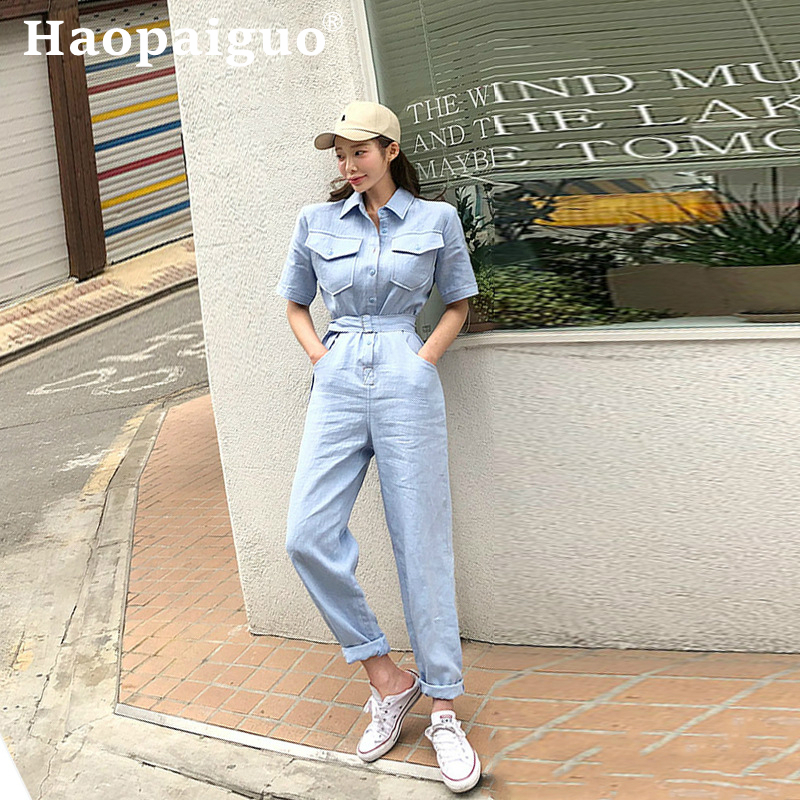 Solid Streetwear Style Denim Overalls Women 2019 Summer Short Sleeve Bodysuit High Waist Jean Bodycon Romper