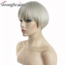 StrongBeauty синтетический белый серый короткий парик-Боб волосы термостойкие тканевые крылья
