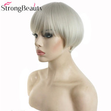StrongBeauty Synthetic White Gray Short Bob Wig Hair Heat Resistant Fiber Wigs