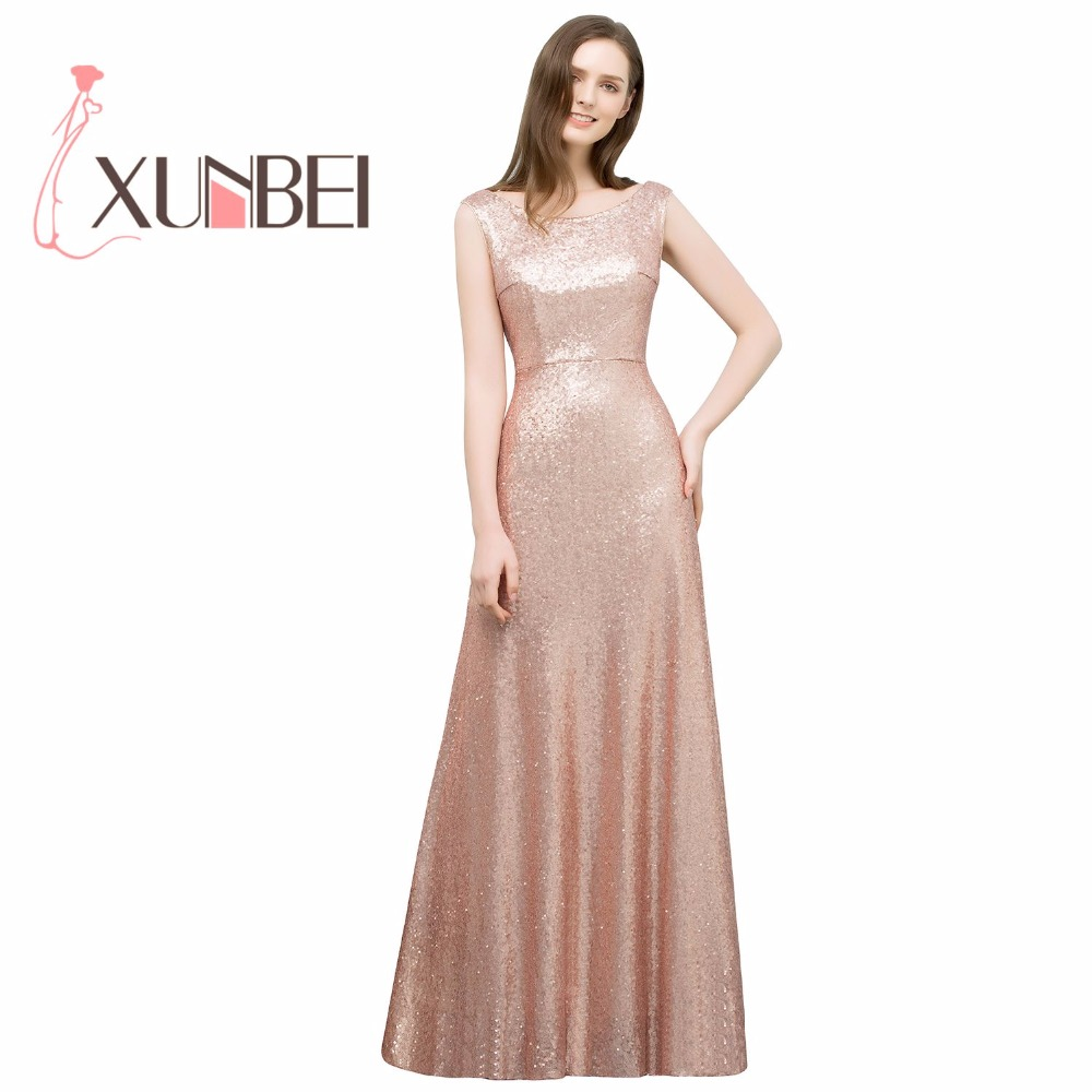 Robe soiree mariage A Line Rose Gold Full Sequined   Bridesmaid     Dresses   Long 2018 Formal Shining Prom   Dresses   Party Gown