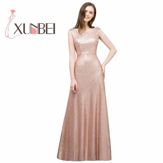 8020a270c3 Robe soiree mariage une ligne or Rose robes de demoiselle d'honneur à  paillettes longues