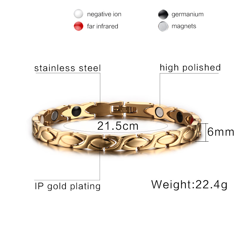 Gold Healthy Magnetic Bracelet for Men