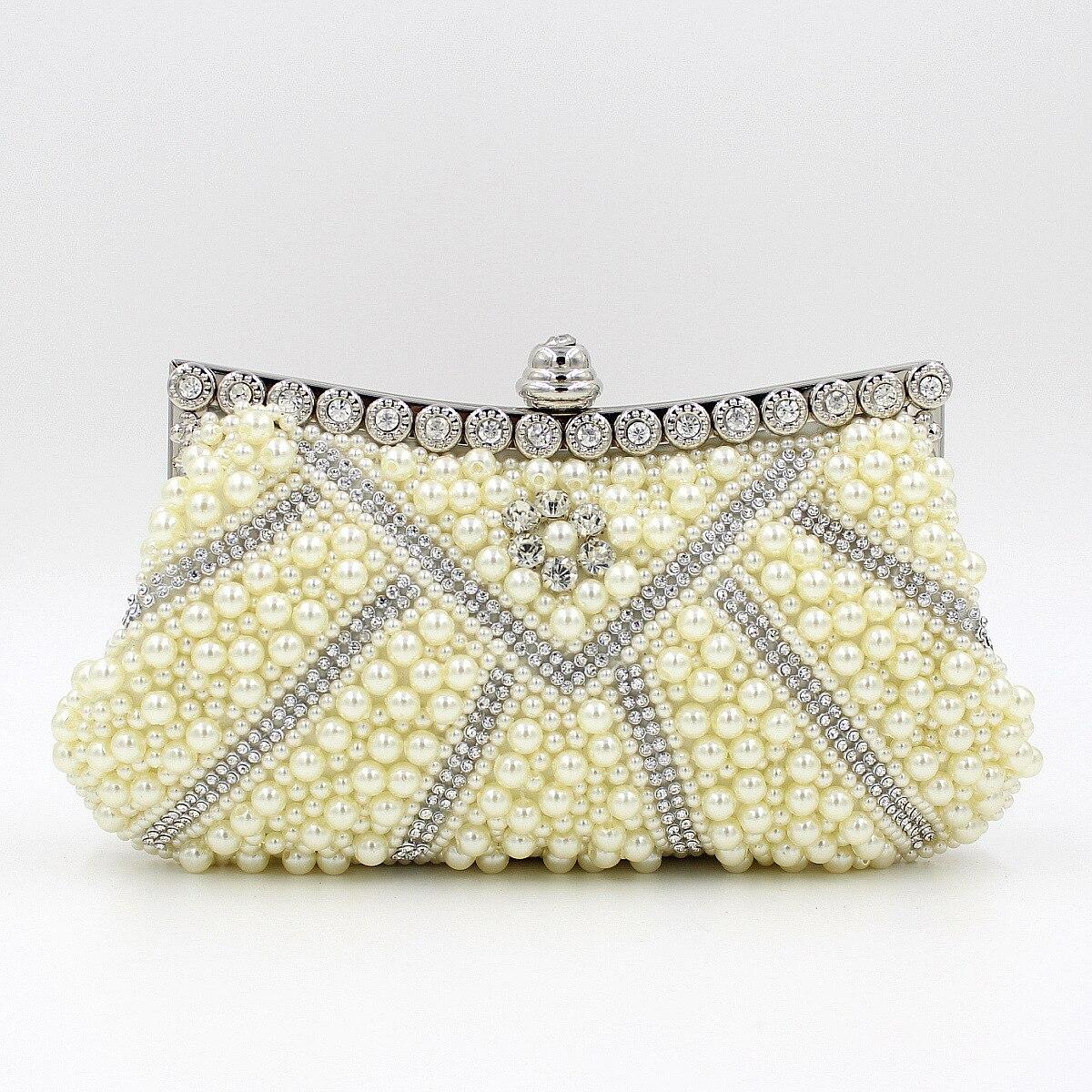 c393ae7107 Women Bridal Pearl Clutch Purse Wedding Crystal Bride Beaded Shoulder Bags  Handbag Ladies Metal Frame Clutches Bolsas De Noche