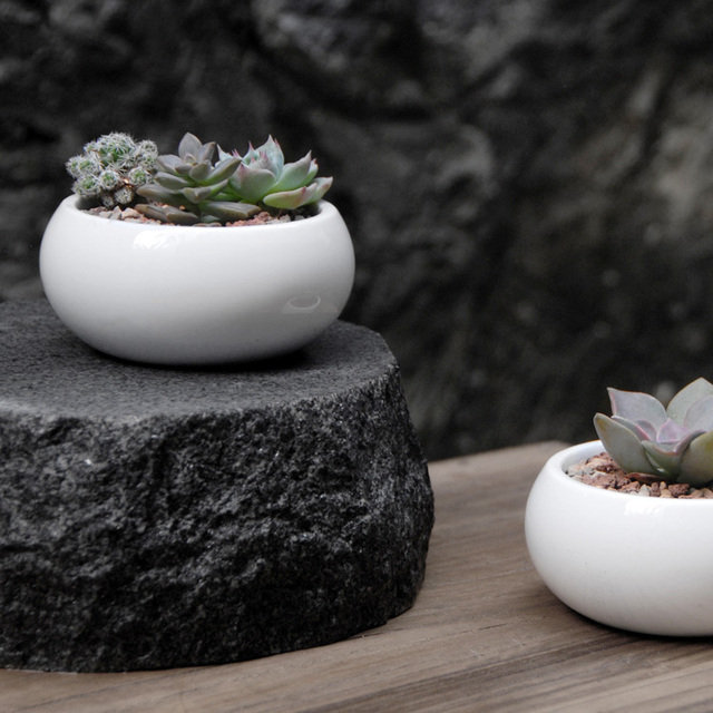 Garden Supplies Small White Ceramic Flower Pots Planters Office Home Desktop Decorative Green Plant