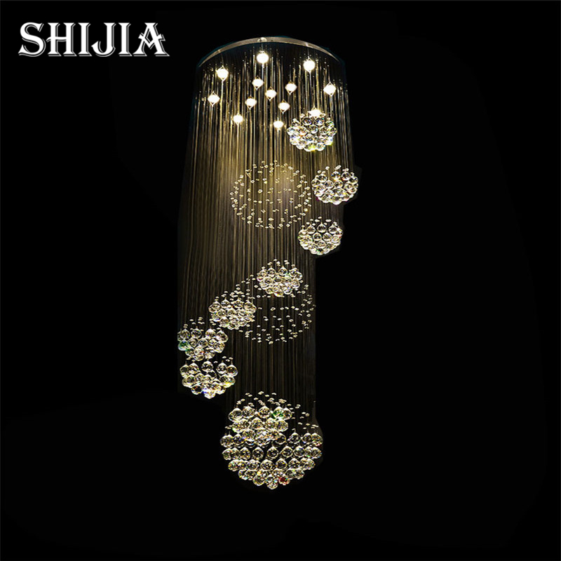Modern Large Crystal Chandelier Light Fixture for Lobby, Staircase, Stairs, Foyer Long Spiral Crystal Light Lustre Ceiling Lamp best price jh modern crystal chandelier fixture duplex stairs led crystal lamp for ceiling villa hall chandelier droplight