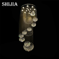 Modern Large Crystal Chandelier Light Fixture For Lobby Staircase Stairs Foyer Long Spiral Crystal Light Lustre