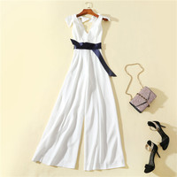 Women girls sexy deep V neck white jumpsuit sleeveless wasit bow tie long overalls new 2019 summer rompers navy
