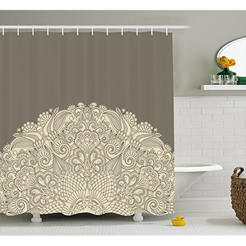 Japanese Wave Shower Curtain Oriental Vintage Print for Bathroom