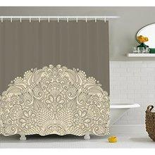 Cortina de ducha Oriental Vixm, Media Mandala con rizos florales ricos, cortinas de baño de tela con motivos clásicos tradicionales