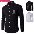 2017 Spring Men Shirt Chemise Homme Fashion Sequin Skull Print Mens Slim Long Sleeve Cotton Dress Shirts Brand Camisas Hombre