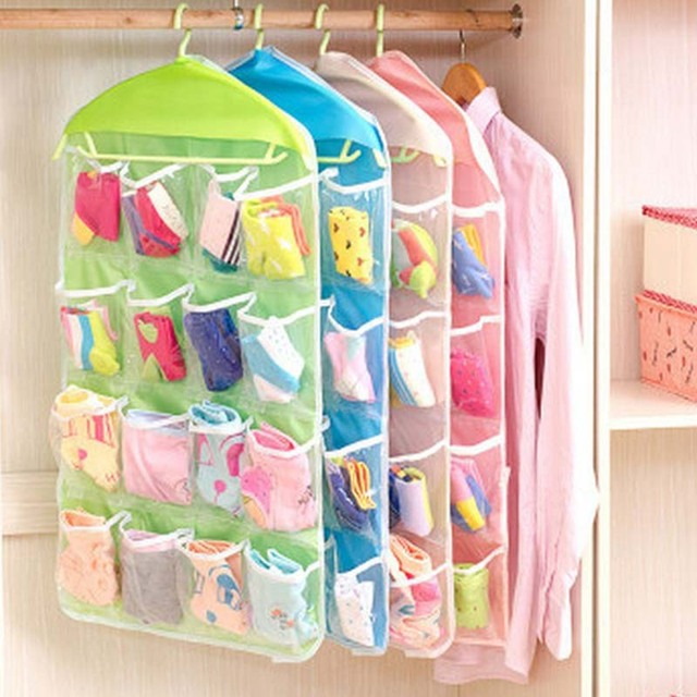 transparent polyester cloth fabric 16 pocket 4 layers clear over door hanging underwear socks storage bags organizer rack