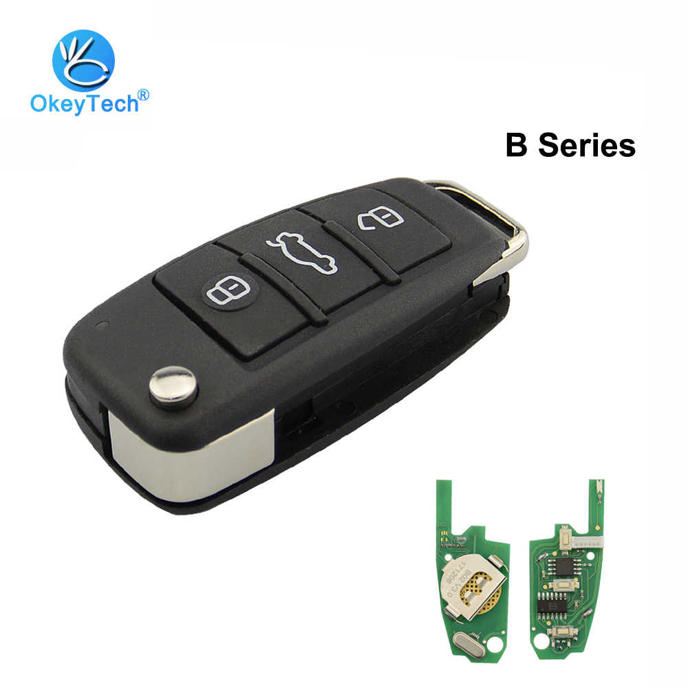 OkeyTech B02 Remote Control Car Key B-Series 3 Button KD Remote Key for Audi A6L Work With URG200/KD900/KD200 Key Programmer