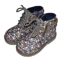 Для девочек; хлопковые ботинки; обувь с цветами с цветочным узором chaussure fille sapato menina темно-желтый sandq детский жесткий носок и каблук Нескользящая детская ботильоны