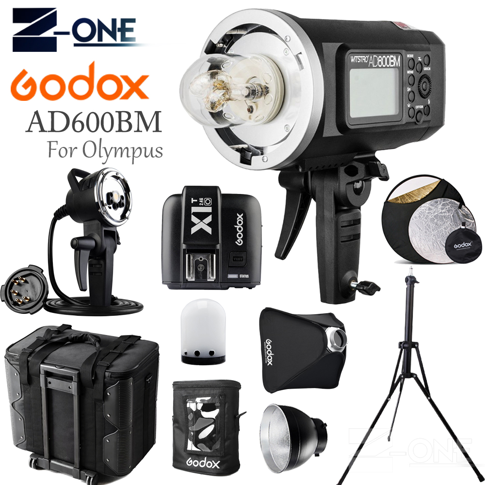 цена GODOX AD600BM HSS 2.4G Wireless Flash Light Speedlite+X1T-O Transmitter+AD-H600B+Draw-Bar Carry Bag+AD-S16 For Olympus Cameras