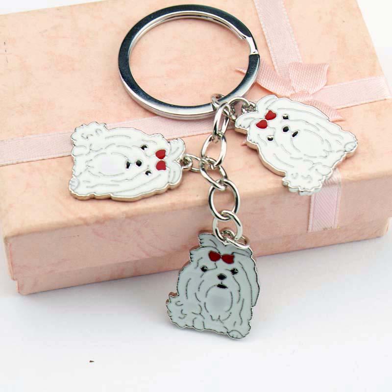 DIY Maltese Dog Pet Key Chain Car Key Ring Gift For Best Friend Metal - Fashion Jewelry - Photo 2