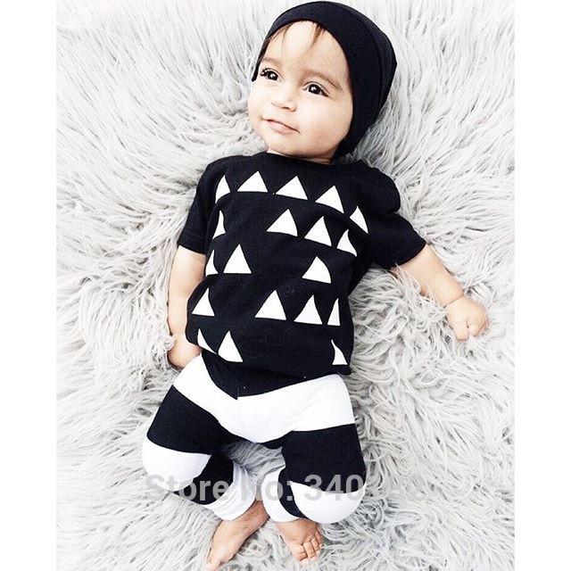 2016 Brand New Baby Boy Clothes Unisex Cotton Short-sleeve Tri-angle Pattern T-shirt+Pants Newborn Bebe Baby Girl Clothing Set