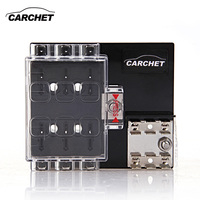 6 Way Block Holder Circuit Fuse Box With Cover For Auto Vehicle Car Truck