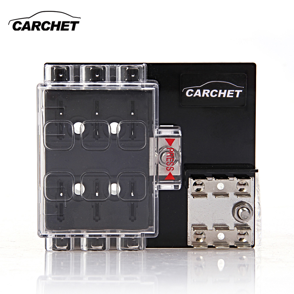 Carchet Fuse Box 6 Way Block Holder Circuit With Cover Car Purpose For Auto Vehicle Truck Boat Marine Maximum 32v