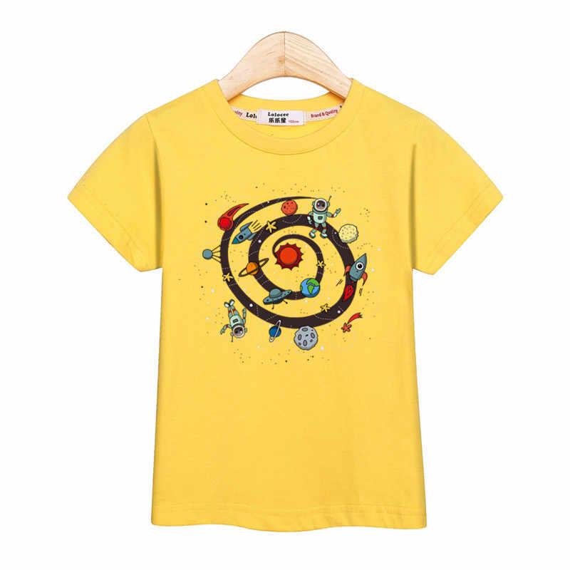 Moda Lolocee planeta espaço tops redonda t-shirt do menino crianças roupas de verão meninos de manga curta camiseta 100% algodão camisa
