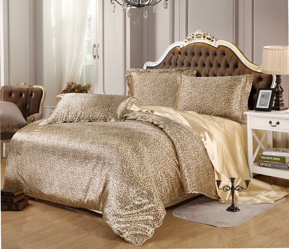 popular silk leopard bedding buy cheap silk leopard. Black Bedroom Furniture Sets. Home Design Ideas