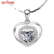 Jewelry Accessories - Fine Jewelry - ISTONE Natural Gemstone Pendants 925 Sterling Silver Heart Shape Crystal Pendant Fine Jewelry For Woman Without Chain