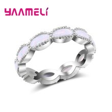 New Design Staggered 925 Silver Wedding Rings For Women Charms Queen Princess Ring Pink Opal Bridal Engagement Jewelry(China)