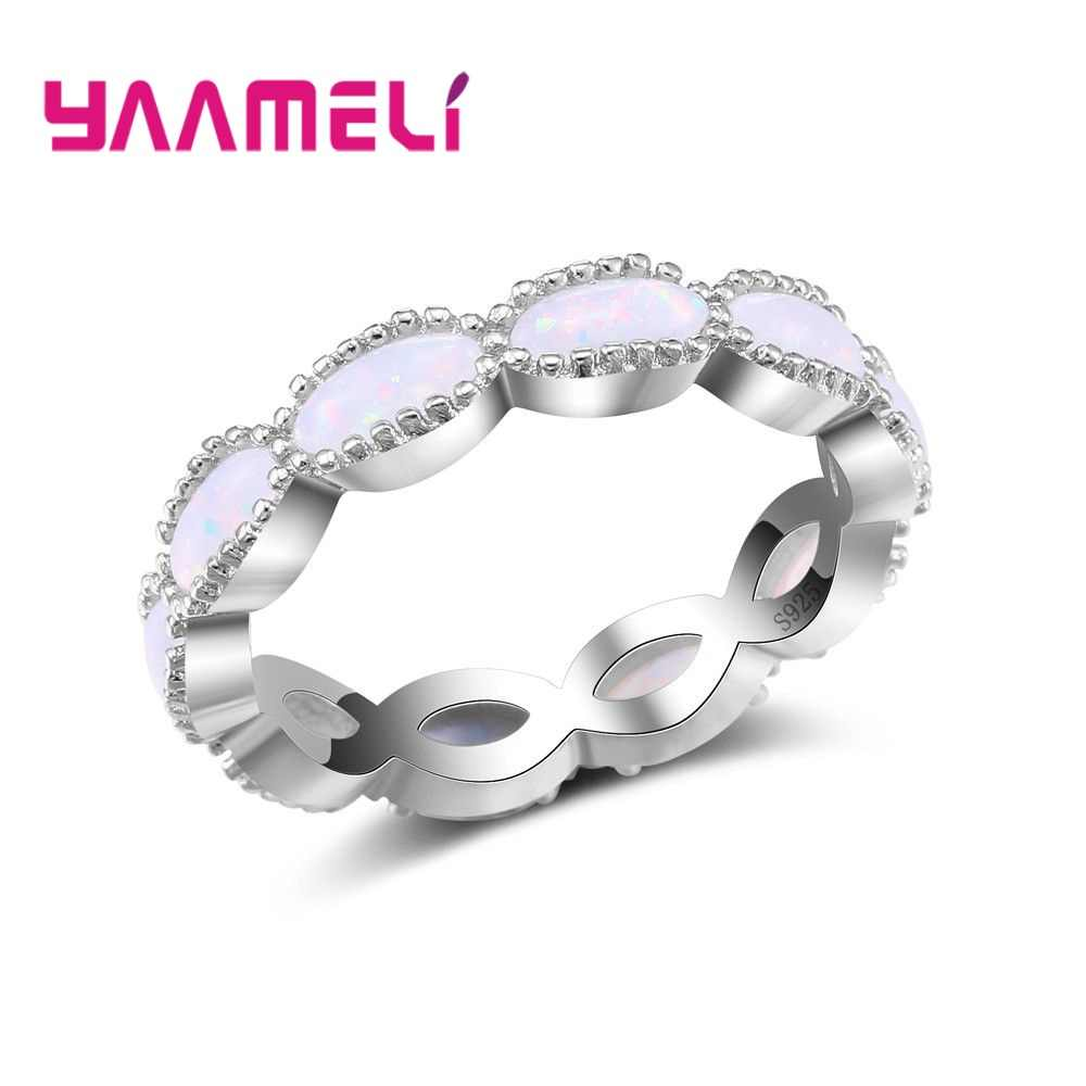 New Design Staggered 925 Silver Wedding Rings For Women Charms Queen Princess Ring  Pink Opal Bridal Engagement Jewelry