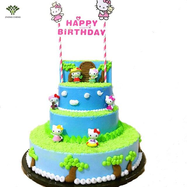 6PCS1Set Hello Kitty Cake Topper Gifts Doll Toys For Children