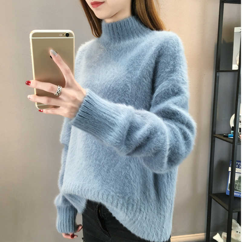 Fluffy Sweater Turtleneck Cashmere Sweater Women Oversized Sweaters Knitted Pull Femme Hiver 2018 Korean Pullover Christmas Pink
