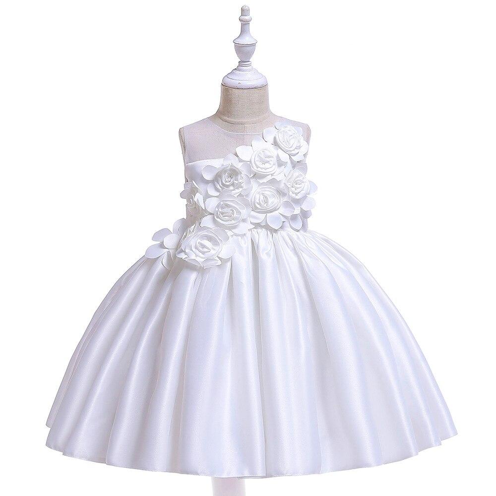 A-line Tank Sleeveless Satin   Flower     Girl     Dresses   For Wedding Party Elegant Little   Girl   Formal Gown