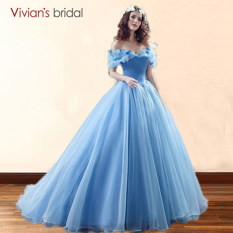 Us 92 65 15 Off Movie Deluxe Cinderella Wedding Dresses Blue Ball Gown Dress Bridal 26240 In From