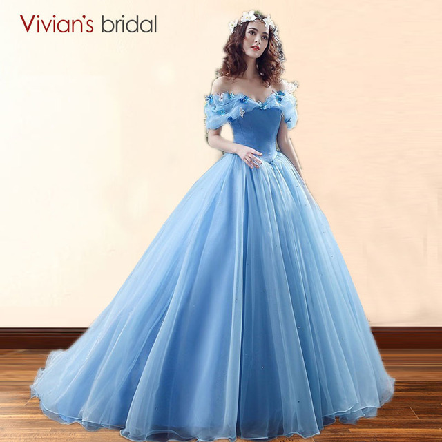 Movie Deluxe Cinderella Wedding Dresses Blue Ball Gown Dress Bridal 26240
