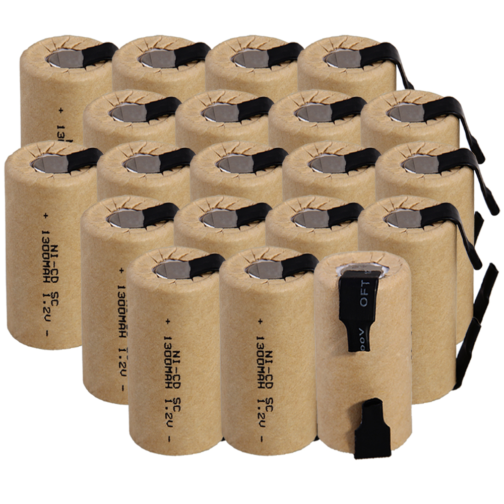 Lowest price 20 piece SC battery 1.2v batteries rechargeable 1300mAh nicd battery for power tools akkumulator
