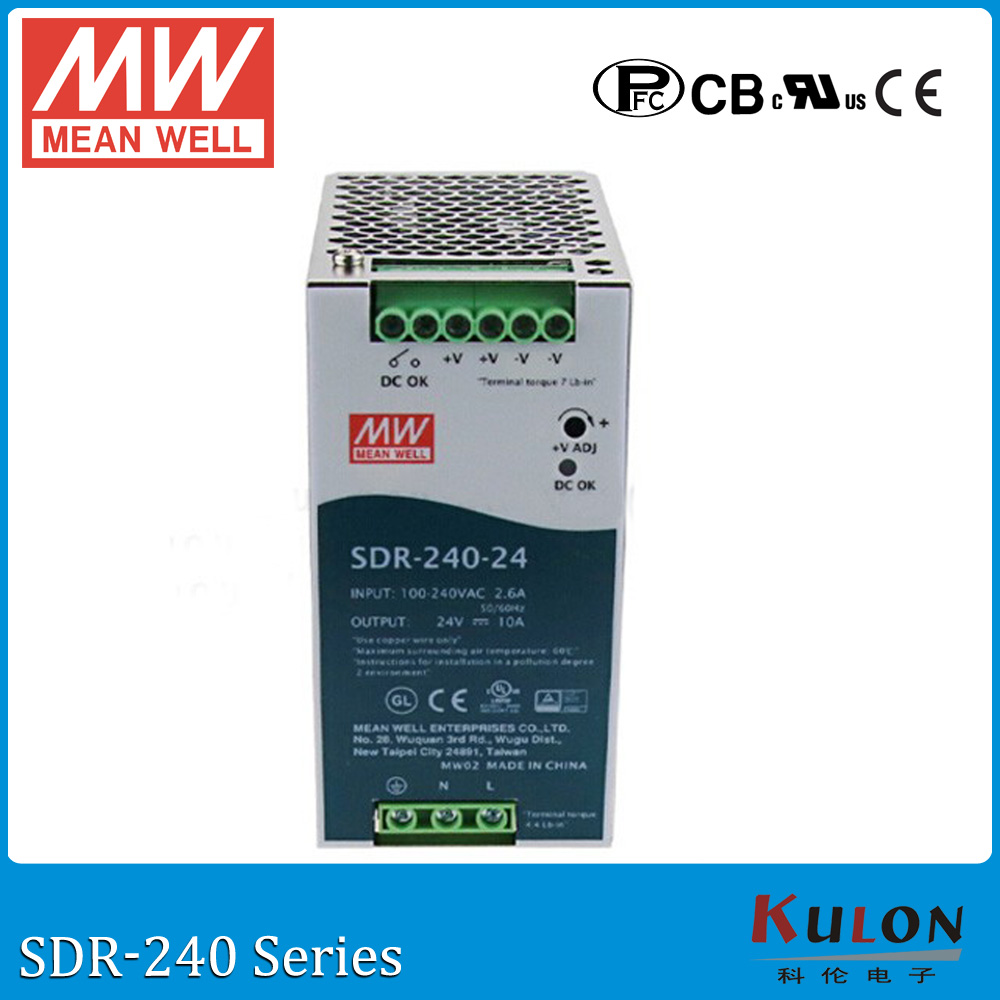 Original MEAN WELL SDR-240-24 Single Output 240W 24V 10A Industrial DIN Rail Power Supply SDR-240 with PFC mean well original sdr 480p 24 24v 20a meanwell sdr 480p 24v 480w industrial din rail with pfc and parallel function