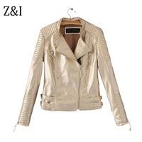 Z&I Pu Bright Leather Jacket Women Fashion Bright Colors Gold Motorcycle Coat Short Faux Leather Jacket Soft Jacket J-07395