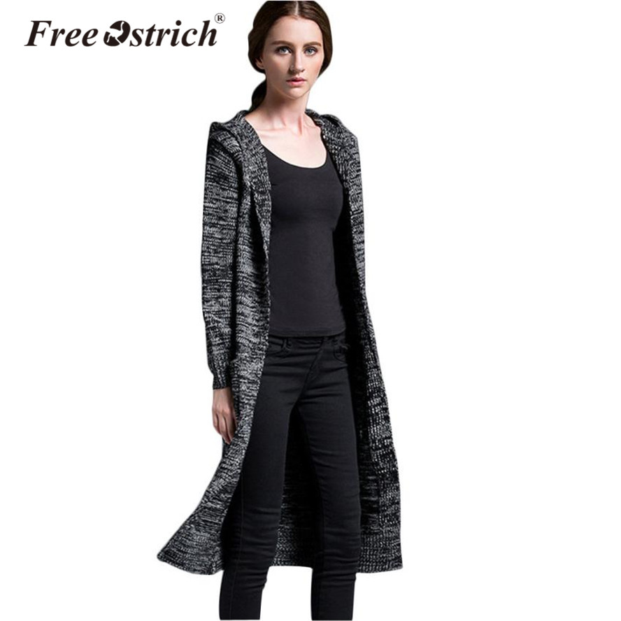 FREE OSTRICH Long Cardigans Sweater Hat Women Plus Size Outwear Full Sleeve Pockets Winter Warm Sweater Coat Oct13